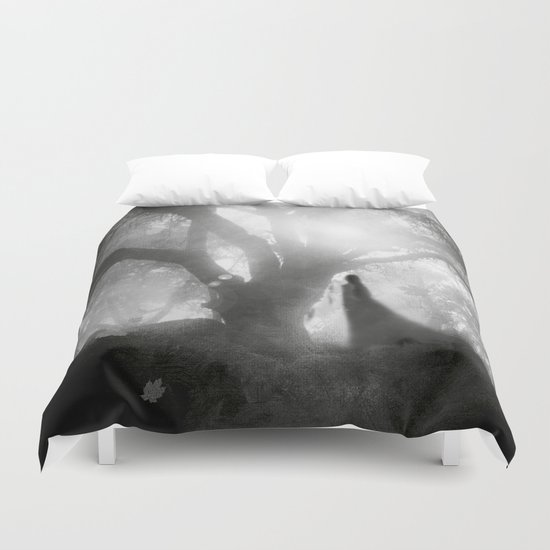 Black and White - Autumn Song Duvet Cover