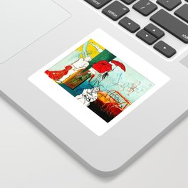 Composition Painting - Umbrella girl with woman Sticker