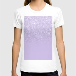 Stylish purple lavender glitter ombre color block T-shirt