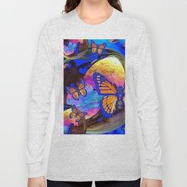 SURREAL BLUE  MONARCH BUTTERFLIES & IRIDESCENT BUBBLES  ART Long Sleeve T-shirt