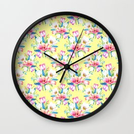 spring tulips on soft yellow background Wall Clock
