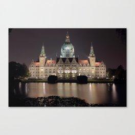 Hanover New City Hall at Night Canvas Print
