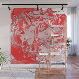 Red and white Marble texture acrylic Liquid paint art Wall Mural