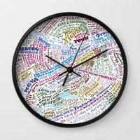 literary Wall Clocks featuring St. Petersburg Literary Map by Ilya Merenzon