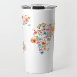 Watercolor Flower World Travel Mug