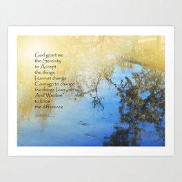 Serenity Prayer Pond Reflections Art Print