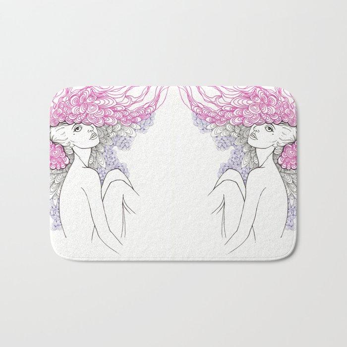 pink feathers Bath Mat