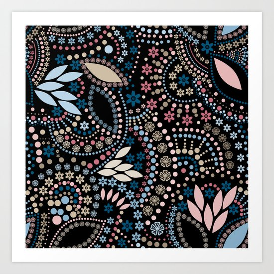Abstract pattern with beads on black Art Print