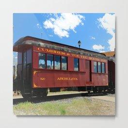 Red Railroad Car - Cumbres And Toltec Metal Print