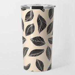 Falling Leaves in black and ivory Travel Mug