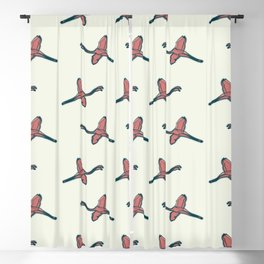 Pink Flamingo watercolor pattern beige Blackout Curtain