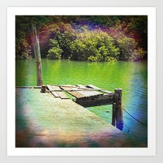 Dilapidated wharf on a tranquil river Art Print