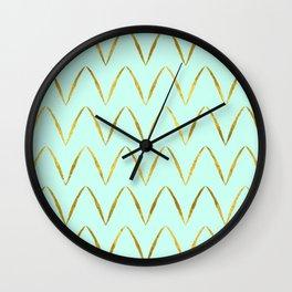 Mint Gold Foil 05 Wall Clock