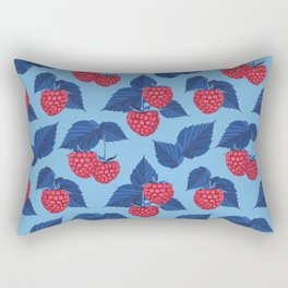 Raspberry on blue background Rectangular Pillow