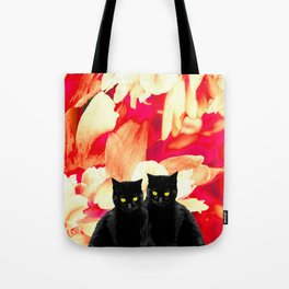 Two Black Cats with Floral Pattern Background #decor #society6 #buyart Tote Bag