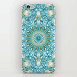 Turquoise and Gold Mandala Tile iPhone Skin