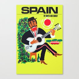 1960 Spain Guitar Player Travel Poster Canvas Print