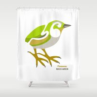 maori Shower Curtains featuring Rock Wren New Zealand Bird by mailboxdisco