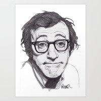 woody allen Art Prints featuring Woody Allen by Paul Nelson-Esch Art