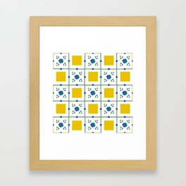 Talavera, blue and yellow flowers Framed Art Print