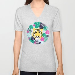 Cute tiger and tropical leaves Unisex V-Neck