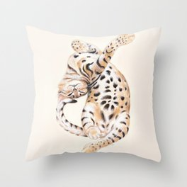 Cute Stretching Bengal Kitten Throw Pillow