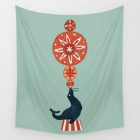 seal Wall Tapestries featuring Circus Seal by Picomodi