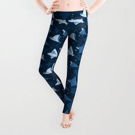 Blue stingrays pattern Leggings