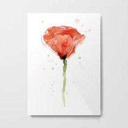 Poppy Watercolor Abstract Red Flower Metal Print