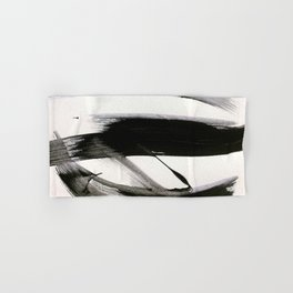Brushstroke 9: a bold, minimal, black and white abstract piece Hand & Bath Towel