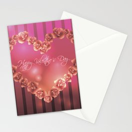 Illustration for Valentines day with heart shaped frame with roses Stationery Cards