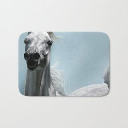 Arabian White Horse Painting Bath Mat