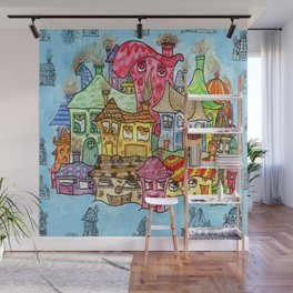 Suburbia USA Watercolor Wall Mural