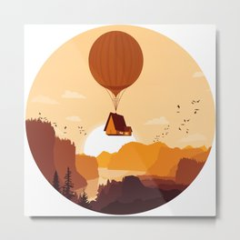 Flying House Metal Print