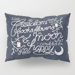 Oscar Wilde Moon Books Quote Calligraphy Stars Pillow Sham