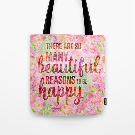 Pink Tropical Flower Typography Illustration Tote Bag