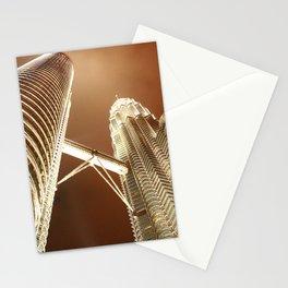 Petronas Towers in Kuala Lumpur at night Stationery Cards