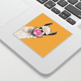 Bubble Gum Sneaky Llama in Yellow Sticker