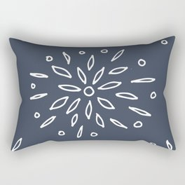 Starry Floral Pattern on Blue Rectangular Pillow