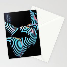 5143s-MAK Zebra Stripe Curves Sensual Female Body Art Stationery Cards