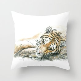 Siberian Tiger Lying Down Throw Pillow
