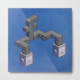 The powerful tentacles of Facebook — pixel art Metal Print
