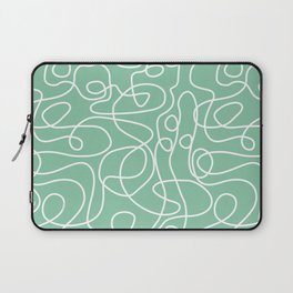 Doodle Line Art | White Lines on Bright Green Laptop Sleeve