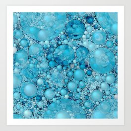 Ocean Atlantic Blue Bubble Abstract Art Print