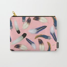 Pattern with feathers on a pink background Carry-All Pouch