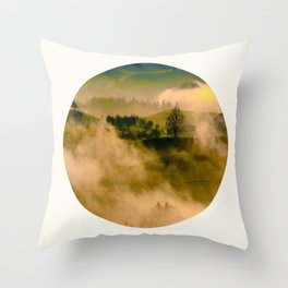 Mid Century Modern Round Circle Photo Graphic Design Foggy Green Country Landscape Throw Pillow