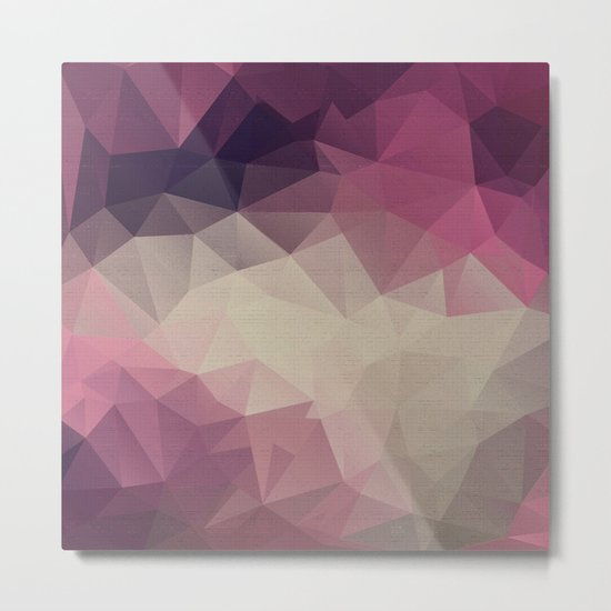 Polygon pattern . Triangles with a texture craquelure . Metal Print
