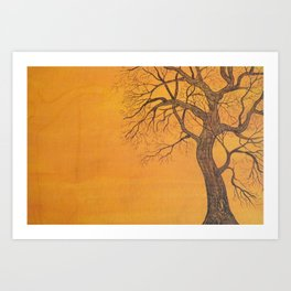 Skeleton Tree on Orange Art Print