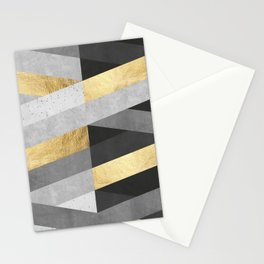 Gold and gray lines IV Stationery Cards