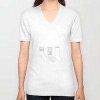 socks V-neck T-shirts featuring Socks.  by novacaeli